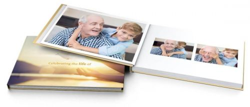Personalised Coffee Table Book - memory photo book - Scatter Tube Ocean Sunset - Funeral home Logan