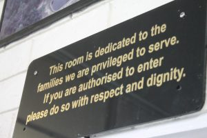 Sign at front of crematorium