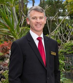 Tom Connolly funeral director at memorial garden in gold coast